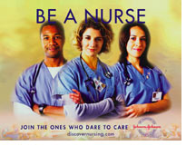 "Photo of male and female nurses ""Dare to be a Nurse"""