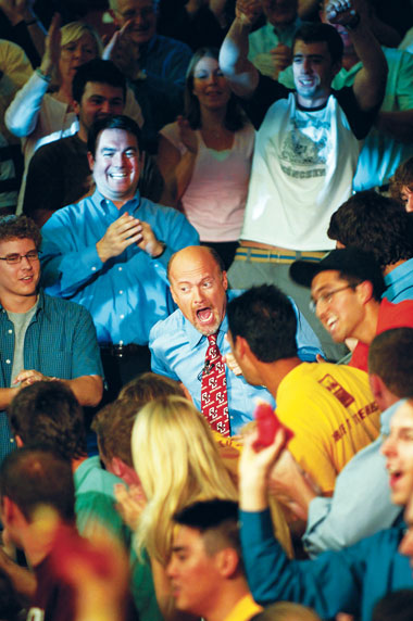 Jim Cramer descends through the crowd at Conte. Photograph: Justin Knight