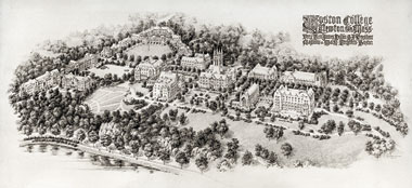 The Maginnis and Walsh plans for Boston College completed in 1928. Courtesy of Burns Library. Click to enlarge.