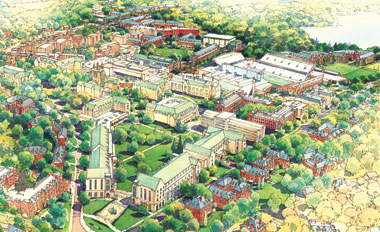 The big picture | An artist's rendering of the campus as it might appear if the new master plan is completely enacted