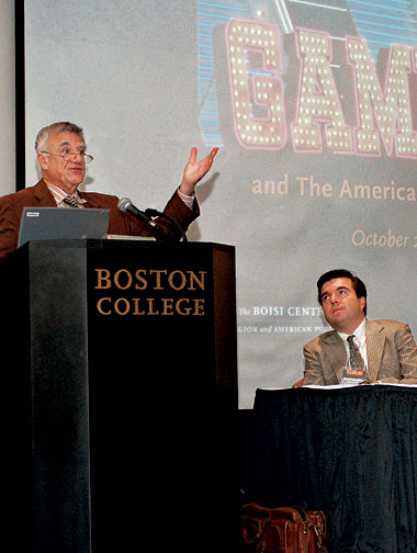 Wolfe (left) and acting associate dean David Quigley at the two-day conference. Photograph: Frank Curran