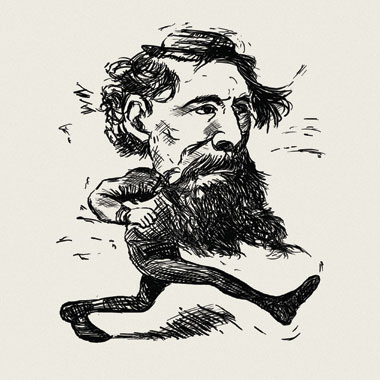 Dickens, as captured by a cartoonist for the Boston Daily Advertiser in March 1868. Drawing: The Boston Daily Advertiser