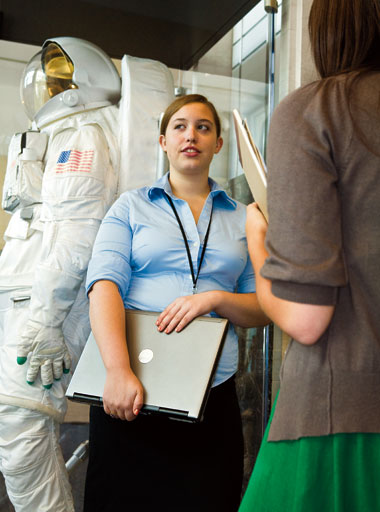 Dacey at NASA headquarters. Photograph: Drake Sorey