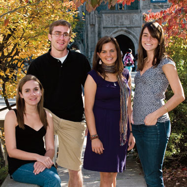 From left: seniors Natalie Foy-Claycomb, Chris Rall, Meghan Battle, and Lauren Galinsky. Photograph: Lee Pellegrini