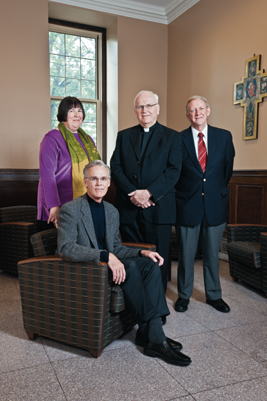 Richard Clifford, SJ, dean of the School of Theology and Ministry (center), with Barbara Radtke, who came to STM by way of C21 Online; Randall Sachs, SJ, (seated) of Weston Jesuit School of Theology; and Thomas Groome (right) of the Institute of Religious Education and Pastoral Ministry.