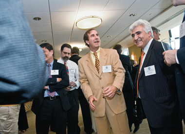 Markopolos in the Murray Room at Boston College, June 4, 2009. To his left is finance professor Hassan Tehranian, with whom he studied. Photograph: Lee Pellegrini