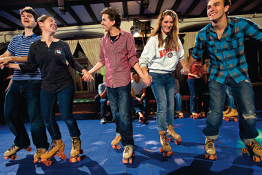 Roller skaters in O'Connell House, October 15. Photograph: J. D. Levine