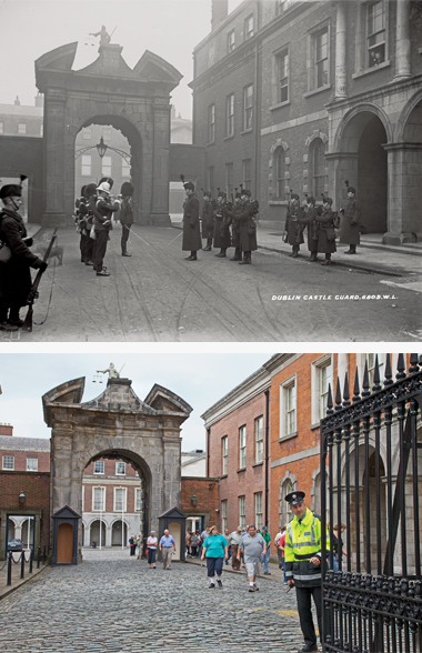 Dublin Castle's entrance, pre-1922 and at present. In the Wandering Rocks episode, the king's representative passed by around 3:00 p.m. Photographs: (from top) Courtesy of the National Library of Ireland; Andrew Moisey