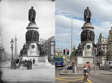Bloom would have seen the 1882 monument to Daniel O'Connell, the Liberator, on O'Connell Street at around noon, en route to his office at the Freeman's Journal on North Prince Street, which is just this side of the General Post Office, the grand building at far left. photographs: (from left) Courtesy of the National Library of Ireland; Andrew Moisey
