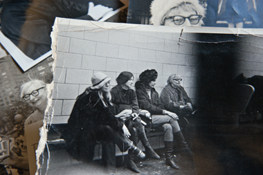 In a Manhattan jail, December 1967, Jacobs (far right) awaits processing beside fellow antiwar protester Susan Sontag.