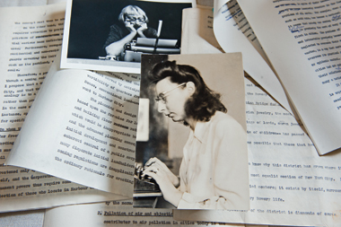 Jacobs at her portable Remington, above, and as a young writer, in undated photographs