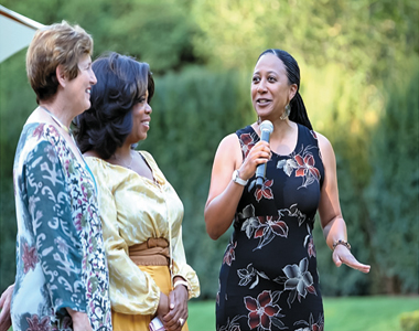 From left: Anne van Zul, head of the Oprah Winfrey Leadership Academy for Girls; Oprah Winfrey; and Joy Moore, deputy head of the school, which is in South Africa. Photograph: Courtesy of Joy Moore