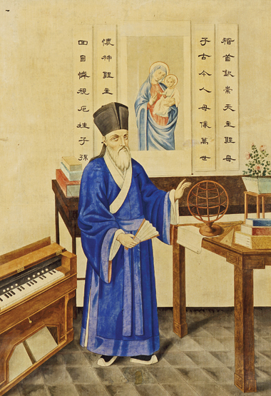 A 1914 painting from a Jesuit orphanage in Xujiahui shows Matteo Ricci, SJ, in Ming garb. Painting: Ricci Institute for Chinese-Western Cultural History at the University of San Francisco.