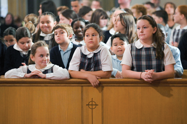 Schoolchildren at a Mass in Boston, October 22, 2006. Photograph: Joan Seidel