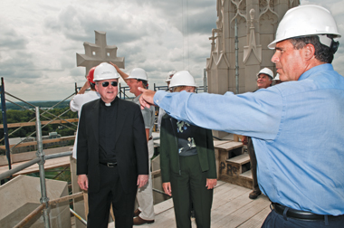 Romeo (right) and University President William P. Leahy, SJ, inspecting Gasson tower in 2008