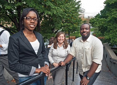 From left: Zina Knox, M.Ed.'12, Melissa Cera-Garcia, M.Ed.'12, and Chuks Ekwelum, M.Ed.'12 are among 10 Lynch School master's degree students who received  Bank of America Charitable Foundation scholarships in exchange for agreeing to work in an urban school system for at least three years. Photograph: Lee Pellegrini