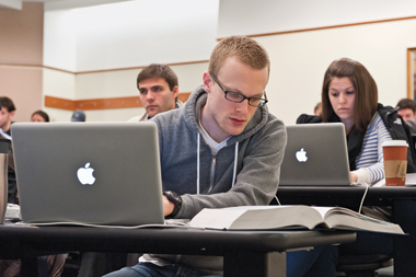 Third-year Tax I students (from left), Charles Carrington, Michael Meidinger, and Stacia Kroetz