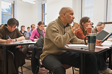 Elton Letang, C.Ss.R., (foreground) and fellow students in Harrington's class on apocalyptic literature