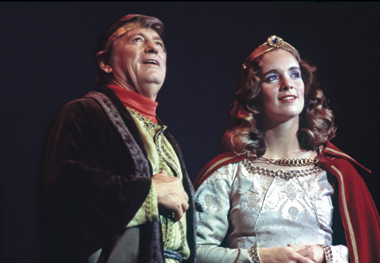 Gordon MacRae as King Arthur and Patricia Raube '82 as Guinevere in Camelot, October 1981. Photographs: Lee Pellegrini