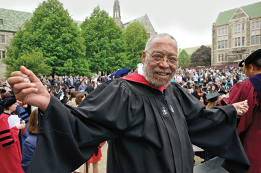 Associate dean John Cawthorne, now retired, at his last commencement in May 2011. Photograph: John Gillooly / P.E.I.