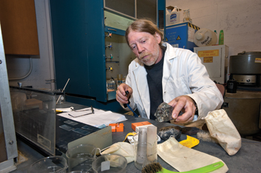 Strother of his samples: Each gram of rock contained thousands of microfossils. Photograph: Lee Pellegrini