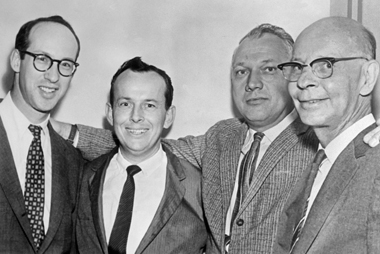 Sullivan (second from right) with his attorneys on November 3, 1960, after winning his libel suit against the Times in Judge Jones's court. Image: © Bettmann / Corbis