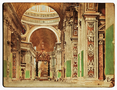 A hand-tinted 1870 photoscopic image of St. Peter's Basilica, with a view of the papal throne created by Gian Lorenzo Bernini in 1657–66. Photograph: Science & Society Picture Library via Getty Images