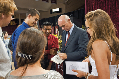 Barry, signing books for students in Conte Forum. Photograph: Suzanne Camarata