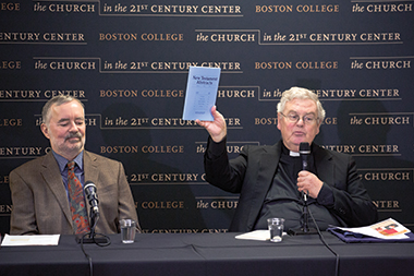 Matthews (left) and Harrington (holding a copy of their publication). Photograph: Caitlin Cunningham