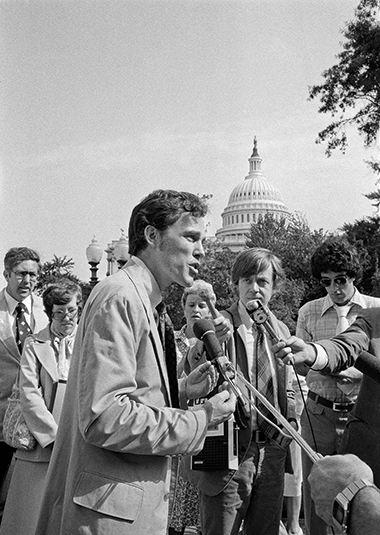 Plater (at microphone) was a first-year law professor when he proposed to take on the Tennessee Valley Authority on behalf of a small fish and to save endangered farmland. Four years later and just days after the Supreme Court decided his case in June 1978, he spoke with reporters in Washington, D.C. Photograph: AP Photo/John Duricka