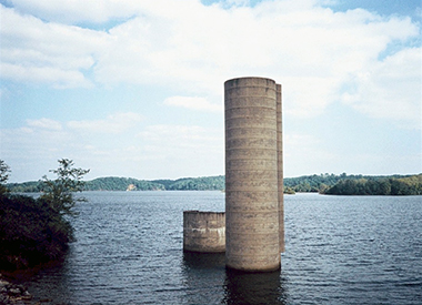 Surviving silos mark a flooded farm. Photograph: Zygmunt J. B. Plater