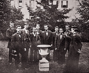 Nine of the class's 10 members—missing is the 24-year-old John Galligan (he entered the priesthood in 1880). Photograph: Courtesy John J. Burns Library Archive