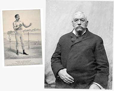 Left: An 1882 Currier & Ives lithograph identifies Sullivan as Champion pugilist of the world. . . . Height, 5 ft. 10 1/2 ins. Weight, 196 lbs. Right: Twenty-two years later, Sullivan, age 46, was photographed in Chicago. Photographs: Library of Congress LC-USZC4-3040; Chicago History Museum/Getty Images. Click images to enlarge.