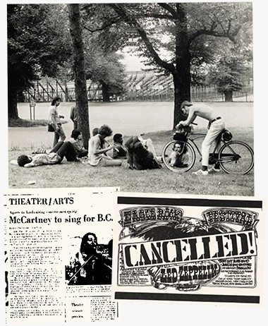 Top: Hippies gathered on the lawn outside Alumni Stadium despite cancellation of the 1970 Eagle Rock Festival. Left and right: Documentary evidence of the concerts that weren't. Clippings: Boston Globe Sept. 12, 1970 (left); Heights Sept. 15, 1970. Photograph: Boston Public Library. Click images to enlarge.
