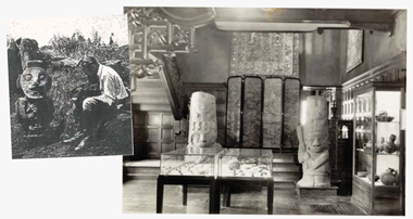 Left: Von Walde-Waldegg during an expedition to San Agustin, Colombia. Right: The short-lived museum on College Road. Photographs (from left): National Geographic, May 1940; Boston Public Library. Click images to enlarge.