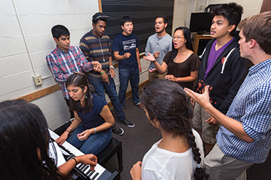 At a Shaan rehearsal in Lyons Hall, clockwise from piano: Priyasha Chaturvedi, Shalin Mehta '16, Jordan Witter '14, Andrew Lee, Mat Thomas, Jessica Leong, Sourabh Banthia, John Thompson, and Shrithi Balasuryan '14. Photograph: Caitlin Cunningham