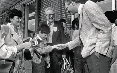 The Golinkins are greeted by members of the local Jewish community upon their arrival in West Lafayette, on June 20, 1990. Photograph: Lafayette Journal & Courier. Click image to enlarge.