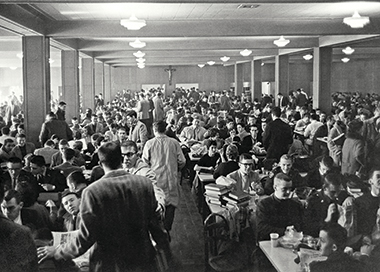 The Law School cafeteria at More Hall. Photograph: Courtesy of John J. Burns Library Archive. Click image to enlarge.