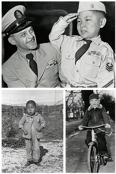Top: Chief Boatswain's Mate Paladino and and his adopted son, Lee James (formerly Lee Kyung Soo), on arrival in the United States in November 1953. A visa snag—the child was denied entry to Hawaii—thwarted Paladino's previous attempt to bring the boy home. Bottom: Lee, some 11 months earlier (left), and at home in New Rochelle. Photographs: Corbis (top); George F. Drake (bottom left); AP Wirephoto (bottom right)