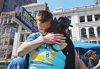Patrick and Jess moments after Patrick finished the 2016 Boston Marathon, on April 18. Photograph: Maddie Meyer / Getty Images.