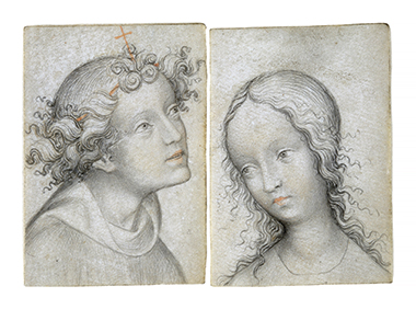 Drawings of the Archangel Gabriel and the Virgin of the Annunciation (circa 1415–20). Photograph: Harvard Art Museums, Fogg Museum. Click image to enlarge.