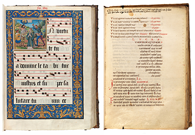 Left: Jean Pichore's 26-inch-tall choir book (circa 1510–20), for reading at a distance during Mass. Photograph: Harvard University, Houghton Library. Right: A page from a 12th-century gospel harmony (11.2 x 7.5 inches) that merges passages from John and Luke. Photograph: Harvard University, Houghton Library. Click images to enlarge.