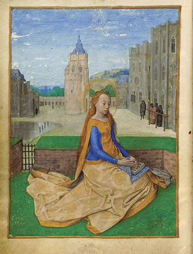 Painted miniature of St. Barbara, from a Belgian book of hours (circa 1480). Photograph: Harvard University, Houghton Library. Click image to enlarge.