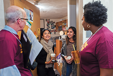 From left: Mahoney, Karishma Kamat '20, Simran Brar '20, and Straker. Photograph: Frank Curran
