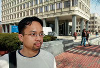 Eric Averion, outside the JFK Federal Building. Photograph: Gary Wayne Gilbert