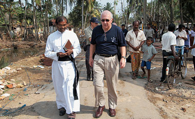 In Galle, Sri Lanka, touring areas affected by the December 2004 tsunami, January 2005. Photograph: Courtesy Catholic Relief Services