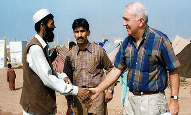 At the Jalozai refugee camp in Pakistan, October 2001. Photograph: Courtesy Catholic Relief Services