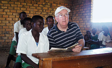 Hackett with students at a school in western Kenya, May 2006. Photograph: Courtesy Catholic Relief Services