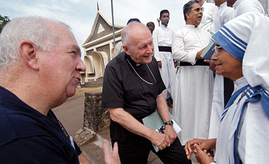 With Cardinal Theodore McCarrick and Sr. Nirmala, MC, in Sri Lanka, January 2005. Photograph: Courtesy Catholic Relief Services