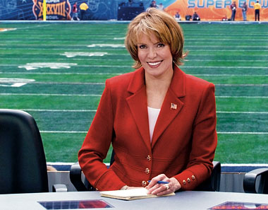 Visser at Reliant Stadium in Houston for Super Bowl XXXVIII, February 1, 2004. Photograph: John Filo/CBS